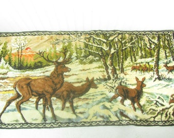 Tapestry, wall hanging, Deer tapestry, hunting scene,vintage wall decor, wildlife,animal picture, 1970s decor,