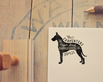 Great Dane Address Stamp - Dog Return Address Stamp - Dog Lover Gift - Rubber Stamp - Personalized Pet Address Stamp