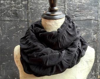 Black Ruffled Infinity Scarf
