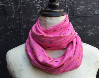 Bright Pink Cotton Blend Infinity Scarf
