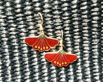 Laurel Burch red lotus earrings. Gold and red enamel