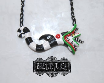Beetlejuice Necklace   Beetlejuice worm   Tim Burton necklace   Beetlejuice pendant   Tim Burton accessories   Beetlejuice jewellery