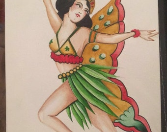 fairy pin up - tattoo flash - tattoo art - traditional pin up - watercolour painting