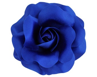 Women's Rose_ Hair Flower Clip and Brooch Pin _ 3.75 inches (9.5 cm)_ Royal Blue