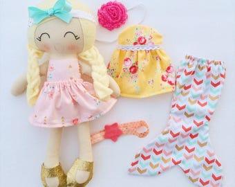 Dress up doll - fabric doll  - heirloom doll - rag doll - girls room decor - birthday gift - cloth doll - birthday gift - lookalike doll