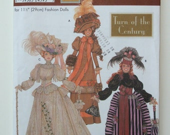 "Pattern Turn of the Century 1900 Style DOLL CLOTHES Sewing PATTERN Simplicity Pattern 9522 Uncut from the ""Doll Collector's Club"" Series"