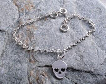 Sterling silver chain skull sugar skull bracelet sterling silver 925 bracelet