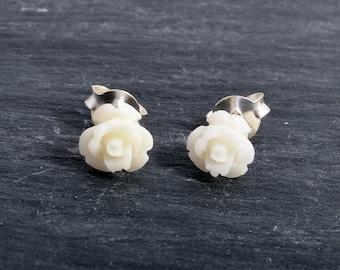 Sterling Silver Resin Rose bud Earrings Ear Studs handmade