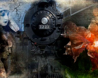 Freedom Train, Train, Red, Black, Orange, History Locomotive, Engine, Steam Engine, Railway, Liberty Train, Black Train Engine, Caboose