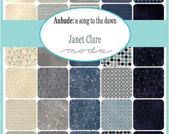 Aubade Charm Pack by Janet Clare for Moda Fabrics, 5 inch squares