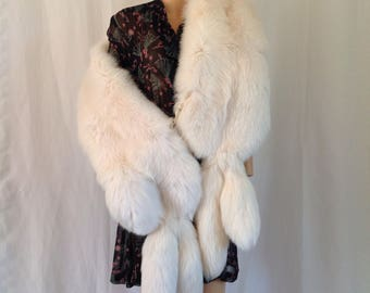 1950's Extra Long White Fox Fur Stole w/Tails