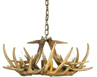 Antler Chandelier, W6 Faux Antler Chandelier, Rustic Lighting