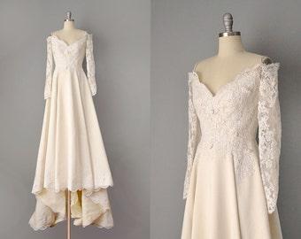 60s Dress // 1960's Matte Ivory Silk Satin and Lace Wedding Dress // Small