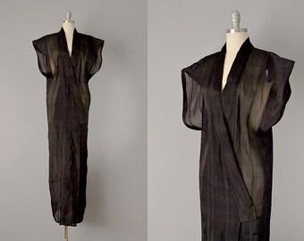 Vintage Kimono // Black Silk Crinkle Organdy Sleeveless Kimono // One Size
