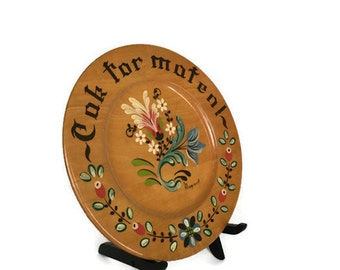 Hand painted wooden plate vintage round Margaret Studios wood platter