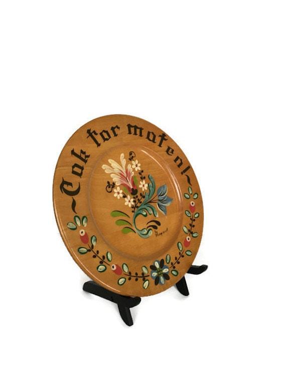 Hand painted wooden plate vintage round Margaret Studios wood platter