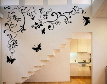 Flower and butterfly wall decals, Flower Wall Stickers, Butterfly Wall Art-Elegant Flower Decal for baby girl-DK258