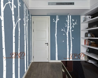 Birch Tree Wall Decal, Wall Decals Sticker, Nursery Wall Decals, Forest Stickers-set of 9 Trees