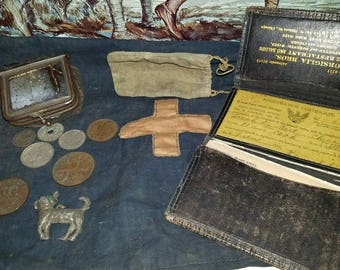 WW1 World War 1 First Aid Bag Trench Art Coins Wallet Grouping Named