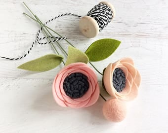 Mini Felt Flower Bouquet - Rolled Flowers and Pom on a Stem - Moyhet's Day Gift
