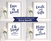 Wedding Signs Template Navy Wedding Sign 8 x 10 Wedding Sign Set Printable Wedding Sign Wedding Reception Sign PDF Instant Download