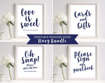 Wedding Signs Template, Navy Wedding Sign, 8 x 10 Wedding Sign Set, Printable Wedding Sign, Wedding Reception Sign, Instant Download, MM03-4