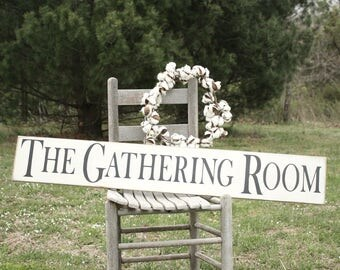 Rustic Wood Sign, 8x48, Farmhouse Decor, The Gathering Room