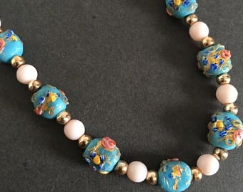Vintage Wedding Cake Beaded Necklace Blue Pink Gold Made In England