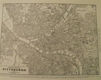 Pittsburgh City Map,Pittsburgh Pennsylvania City Map,Central Section of the city,USA City Map,Place on the World Map,1942 9x12 VS11