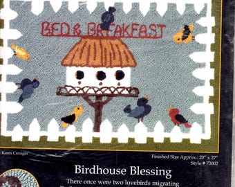 Heritage Rug Hooking MCG Textiles Birdhouse Blessing Style 73002 Bed & Breakfast Linen Burlap 20X27 inches New