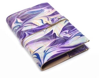 A6 Lilac Notebook Leather Journal Cover, Patterned Marbled Diary