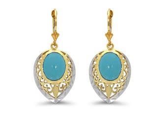 14k solid gold two tone turquoise lever back earrings.