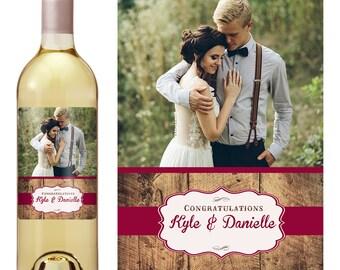 Vintage Wedding Wine Label - Custom Wine Label - Personalized Wine Label - Rustic Wedding Wine Bottle Label - Photo Wine Label