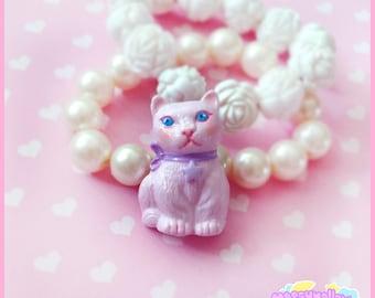 Pink cat brooch fairy kei creepy cute