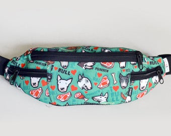 Fanny Bag Bull Terrier Pattern Fanny Pack, Dog Bum Bag, Hip Bag, Hip Pack Belt Bag Adjustable Strap Handmade dog walking bag