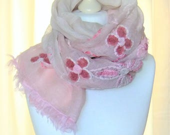 Cloth scarf embroidered linen Pink Pink Leinenschal