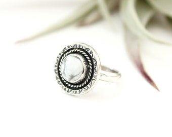White Marble Howlite Ring // Gemstone Ring // Sterling Silver // Made to Order