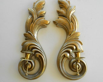 Pair of Vintage Sconces, Wall Candle Sconces, 1970's, Syroco Wall Candlestick Sconces Set, Wall Hanging Sconces, Victorian Wall Sconces
