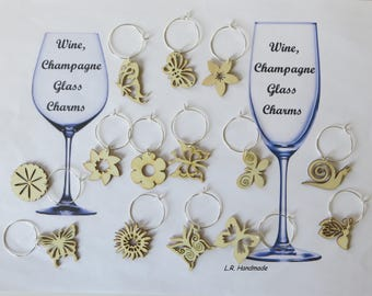 Wine glass charm set Wood Flower, Wine / Champagne glass decorations, wine markers, table decor, party decor, birthday gift, Christmas gifts