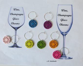 Wine glass charm set Flower, Wine / Champagne glass decorations, wine markers, table decor, party decor, birthday gift, Christmas gifts
