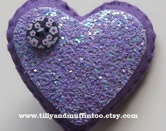 Handmade Felt Purple & Lilac Glitter Heart Brooch/Pin.  Party Favors,Wedding Favours,Bridal Shower,Stocking Stuffers/Fillers.