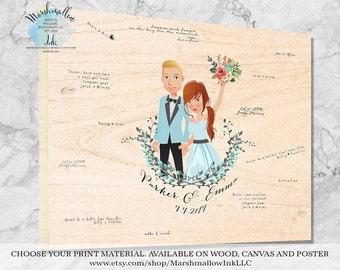 Personalized Guest Book Wedding Guest Book Alternative, Wedding Signs Wood Guest Book Portrait, Wedding Canvas Custom Guestbook Ideas