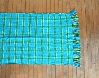 Vintage 70s blue, yellow, and green woven blanket/ runner rug