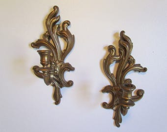 Vintage Wall Sconce Set TMC Syroco Homco - Like Gold Molded Plastic Romantic Bedroom Candle Stick Holder Decor