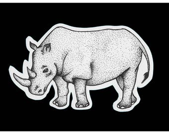 "Rhino Dot Work (print 10x8"")"