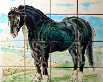 The Black Horse Handpainted Wall Tile Mural / Kitchen Backsplash Tiles