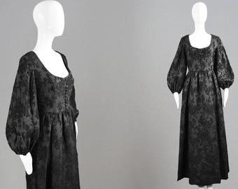 Vintage 70s Balloon Sleeve Maxi Dress Evening Gown Damask Brocade Long Black Dress Nora Bradley Full Length Dress Deep Scoop Neck Gothic