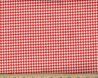 Happy Houndstooth Red Cotton Quilting Sewing Fabric, BTY #419-1