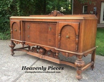 Antique Jacobean Buffet, Vintage Sideboard, Ready to Customize, Ornate, Large