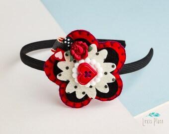 Red queen hairband, Alice in wonderland hairband, Queen of Hearts hairband, Red rose hairband, Alice in wonderland accessory